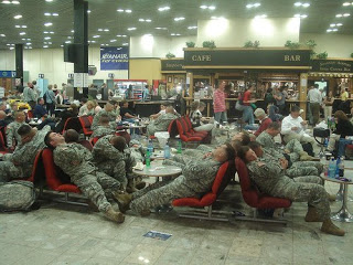 U.S. soldiers passing through Shannon Airport