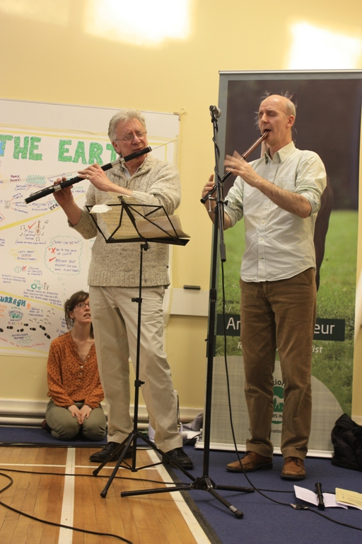 "Brian Dunning (left) and Cormac Breatnach playing during the ""Dreaming for the Earth"" session"