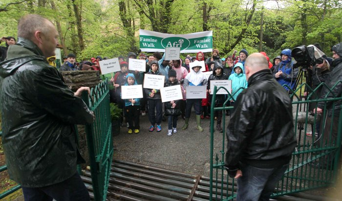 The gates of Delphi Lodge open for walkers.  Photo: Derek Speirs