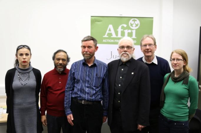 At the Irish Launch of the Campaign to Stop Killer Robots: (From left to right): Fiona Crowley (Amnesty Ireland), Tony D'Costa (Pax Christi), Iain Atack (ISE), Professor Noel Sharkey, Joe Murray, Lisa Patten (Afri).  Photo: Dave Donnellan