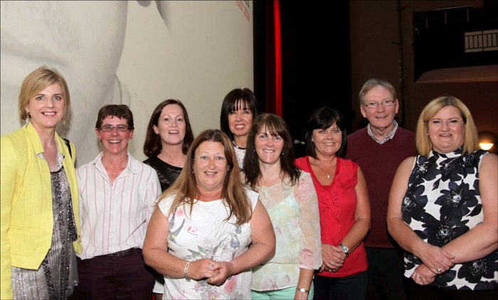 "At the premiere of ""Blood Fruit"" in Galway: (from left to right) Theresa Mooney, Karen Gearon, Sinead O'Brien (film director), Cathryn O'Reilly, Liz Deasy, Michelle Gavin, Sandra Griffin, Joe Murray (Afri) and Mary Manning."