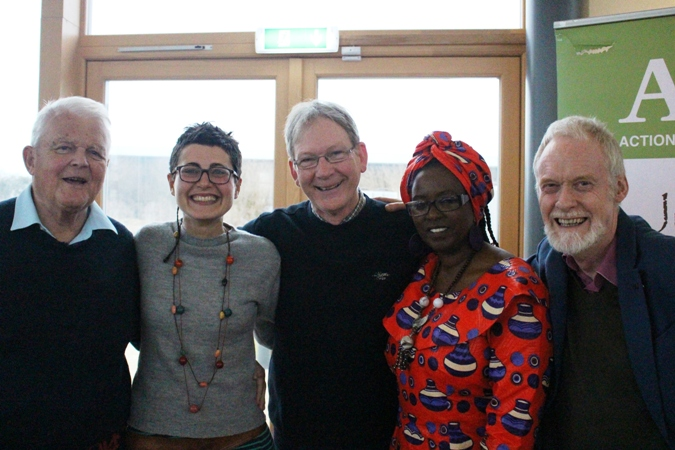 From left to right: Bruce Kent, Emanuela Russo, Joe Murray, Salome Mbugua and Colin Archer.  Photo: Pauhla McGrane