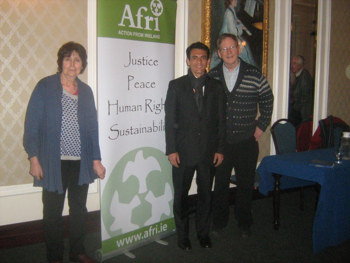 From left: Carol Fox (Peace and Neutrality Alliance), Roberto Zamora, Joe Murray (Afri)