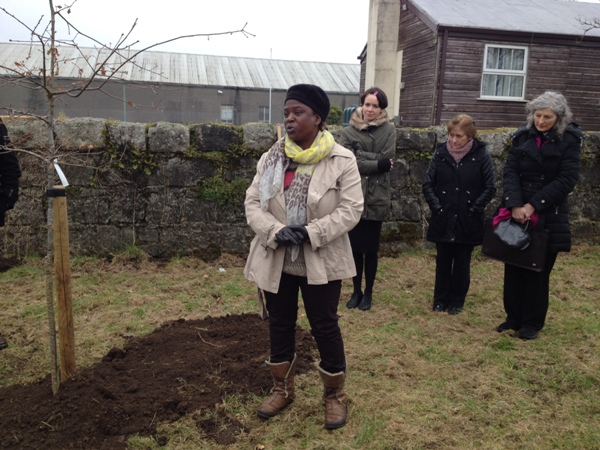 Sakhile Heron speaks at tree planting ceremony during the Famine Walk held in I.T. Carlow on the 11th February.  Photo: Lisa Patten