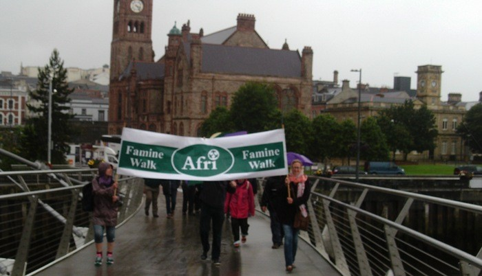 Crossing Derry's Peace Bridge during the Famine Walk on the 31st July 2015