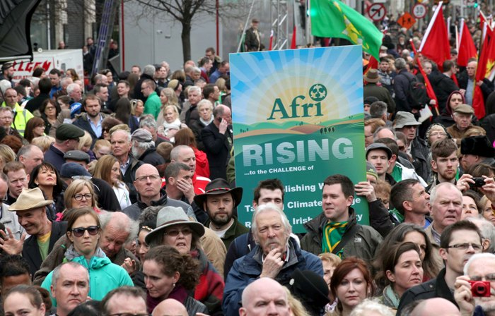 Afri's banner visible during the 'Reclaim the Vision of 1916' march and rally. Photo by Derek Speirs