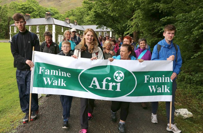 The 2016 Famine Walk began at Delphi Lodge, led by walk leaders Cathryn O'Reilly and Clare O'Grady Walshe (the other walk leader not present here is Rafeef Ziadah) among others. Photo by Derek Speirs